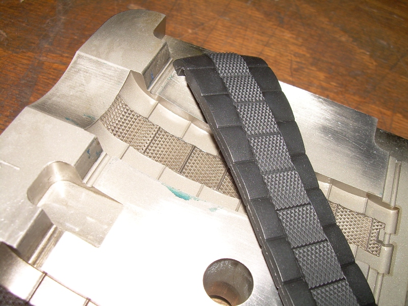 The engraved mould of the watchstrap